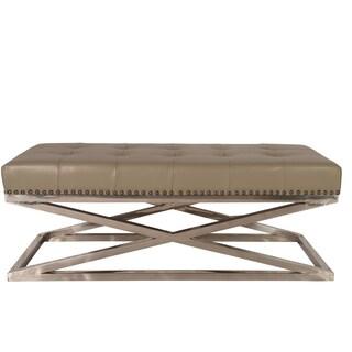 Lazzaro Leather Peyton Retangular Stainless Base Tufted Adobe Cocktail Table