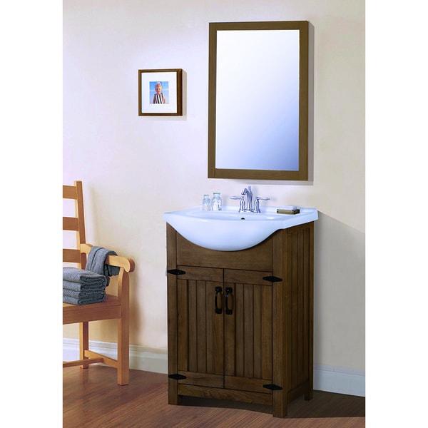 Legion Furniture 24 Inch Weathered Light Brown Single Sink Bathroom Vanity  With Mirror