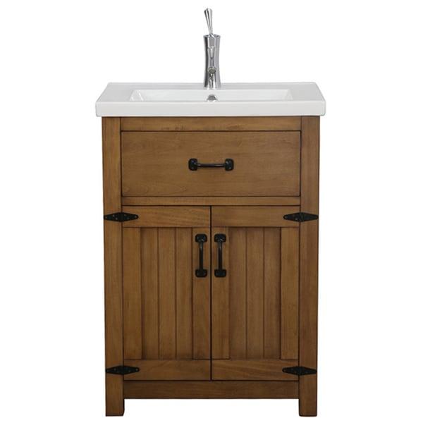 Legion Furniture 24 Inch Weathered Light Brown Single Sink Bathroom Vanity
