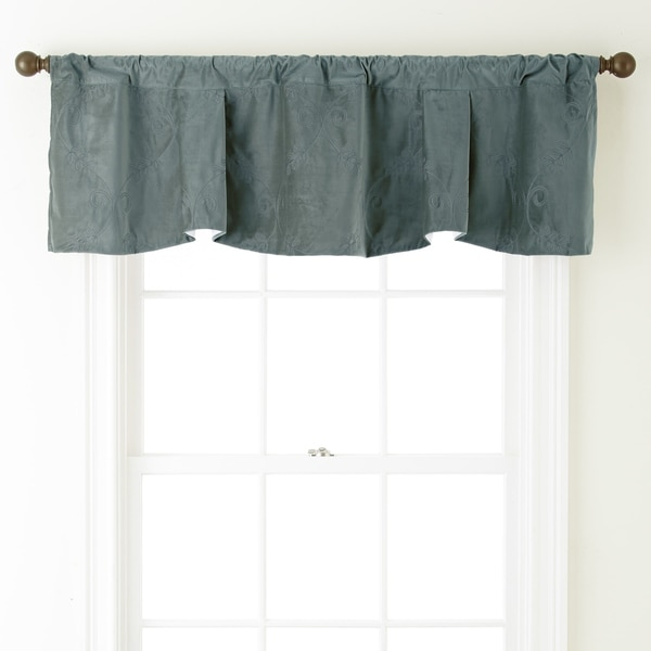 Nanshing Velvet 54 x 18-inch Embroidered Curtain Valance - 54 x 18