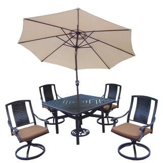 Oakland Living Vanguard Sunbrella Aluminum 7-piece Swivel Rocker Dining Set