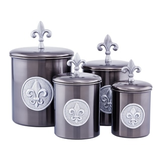 4-Piece Antique Pewter Fleur de Lis Canisters with Fresh Seal Covers