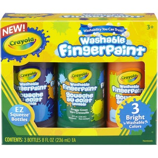 Crayola Washable Finger Paint 8oz 3/Pkg Secondary
