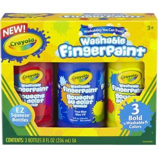 Crayola Washable Finger Paint 8oz 3/Pkg Primary
