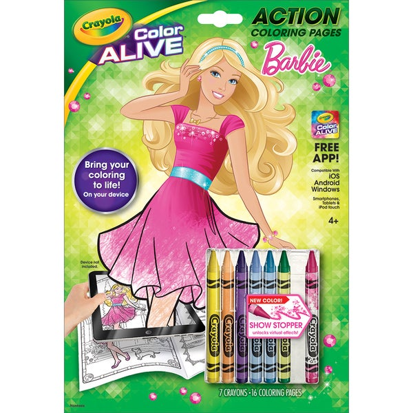 Shop crayola color alive action coloring pages barbie for Crayola color alive coloring pages