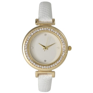 Olivia Pratt Classic Inspired Rhinestone Bezel Petite Leather Watch