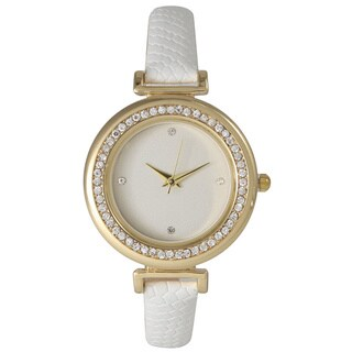 Olivia Pratt Classic Inspired Rhinestone Bezel Petite Leather Watch