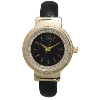 Olivia Pratt Chic Rhinestone Leather Bangle Watch