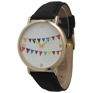 Olivia Pratt Women's Colorful Flags Leather Watch