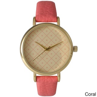 Olivia Pratt Boxes and Dots Leather Watch
