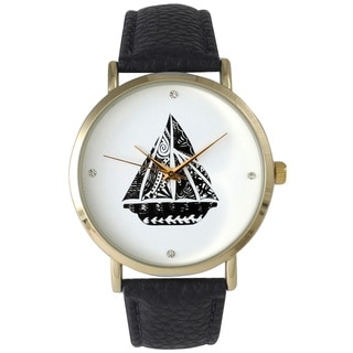 Olivia Pratt Patterned Sailboat Leather Watch
