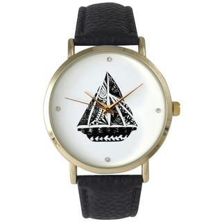 Olivia Pratt Patterned Sailboat Leather Watch