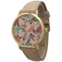 Olivia Pratt Subtle Rhinestone Floral Watch