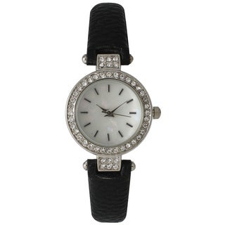 Olivia Pratt Skinny Leather Sparkly Classic Watch