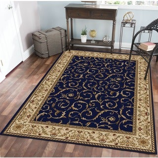 Admire Home Living Amalfi Damask Blue Area Rug (7'9 x 11') - 7'9 x 11'