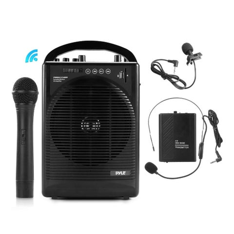 Pyle PWMA1216BM Portable Bluetooth PA Speaker Amplifier and Microphone System Bundle