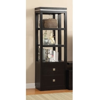 Furniture of America Bausley Modern Black 3-tier Pier Cabinet