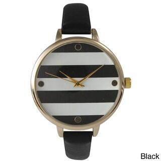 Olivia Pratt Skinny Band Striped Leather Watch