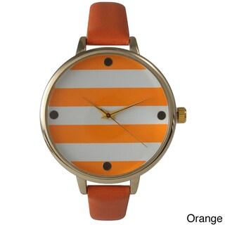 Olivia Pratt Skinny Band Striped Leather Watch (Option: Orange)