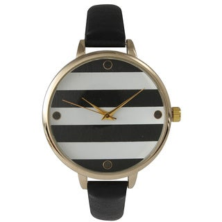 Olivia Pratt Skinny Band Striped Leather Watch