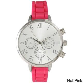 Olivia Pratt Skinny Silicone Classic Boyfriend Watch (Option: Hot Pink/Pink)
