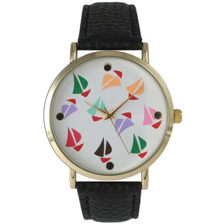 Olivia Pratt Colorful Sailboats Leather Watch
