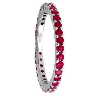 Beverly Hills Charm 10k White Gold 1 1/5ct Natural Rubies Stackable Eternity Band Ring