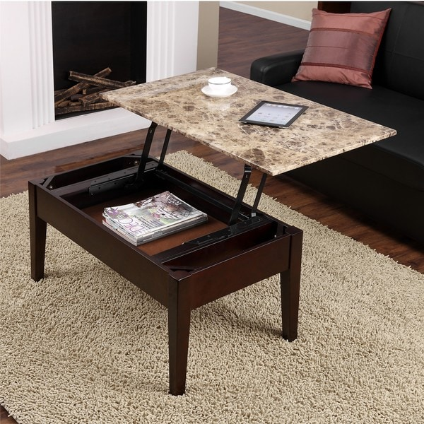 Barrett Trunk Coffee Table With Lift Top: Dorel Living Faux Marble Lift-Top Coffee Table