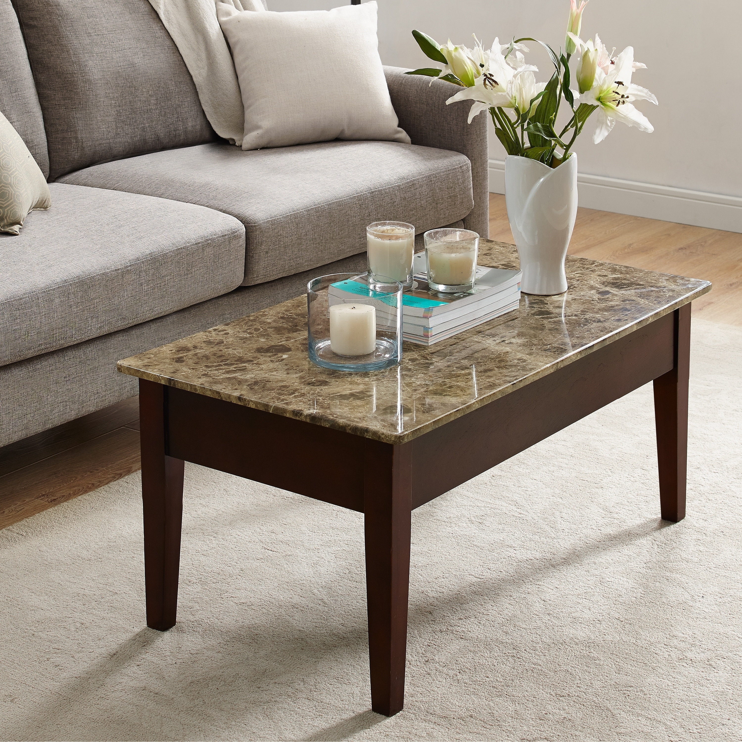 Shop Dorel Living Faux Marble Lift-Top Coffee Table