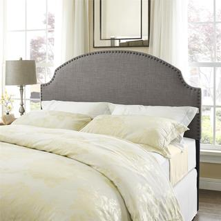 Dorel Living Skylar Grey Linen Headboard with Nailheads