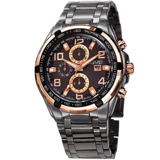 August Steiner Men's Swiss Quartz Multifunction Tachymeter Rose-Tone Bracelet Watch - Black