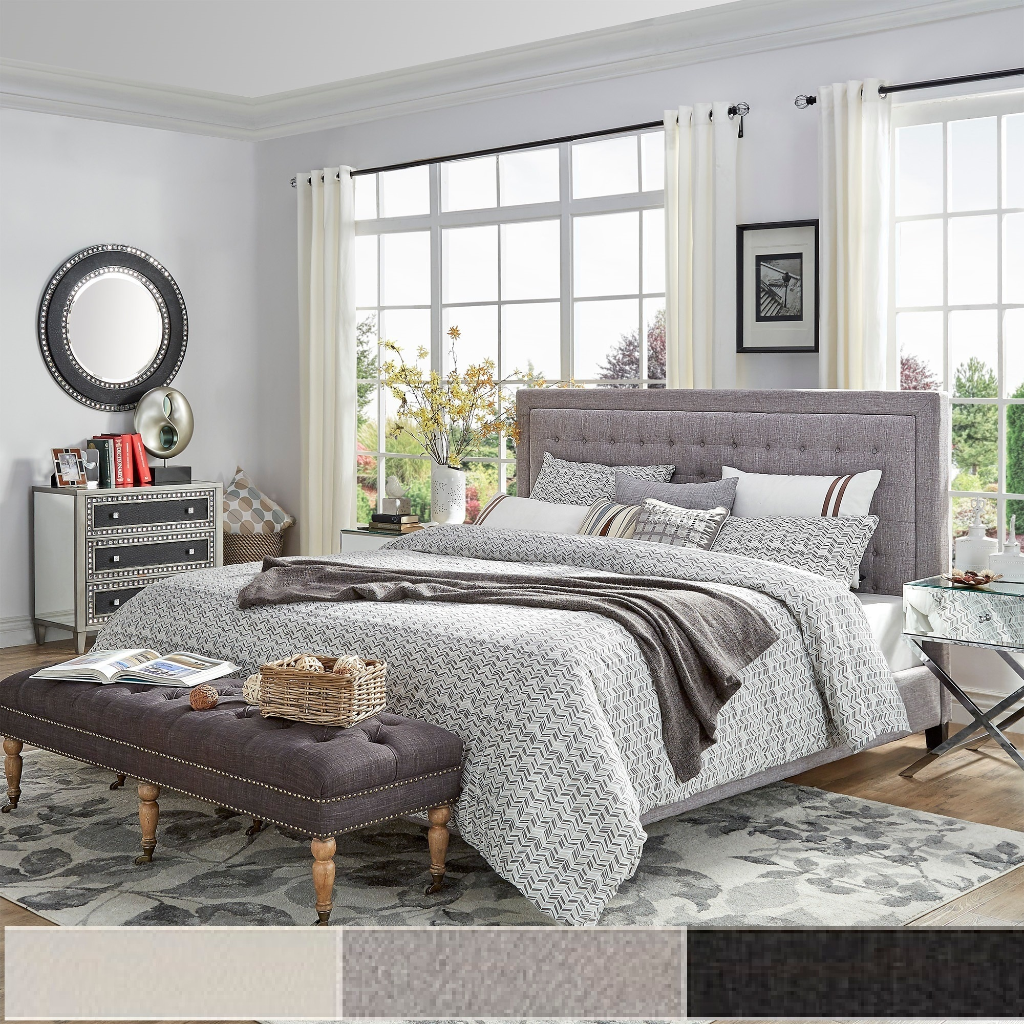 Bellevista Square Button-tufted Upholstered Bed by iNSPIRE Q Bold (Dark Grey Linen - Queen)