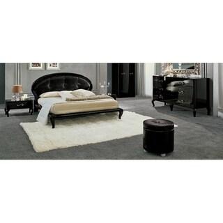 Luca Home Black 3-piece Rounded Queen Bedroom Set