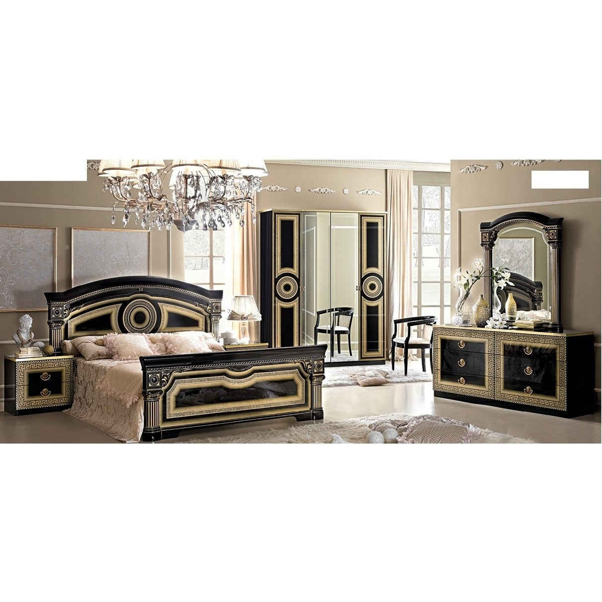Shop Luca Home Black And Gold Queen Bedroom Set Overstock 11190165