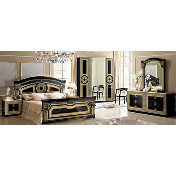 Furniture Clearance Nyc: Luca Home Black And Gold Queen Bedroom Set
