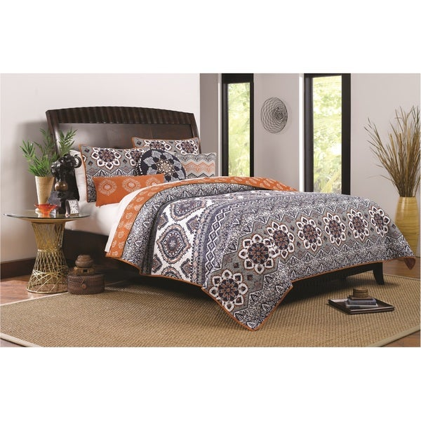 Greenland Home Fashions Medina Saffron Oversized 3-piece Quilt Set. Opens flyout.