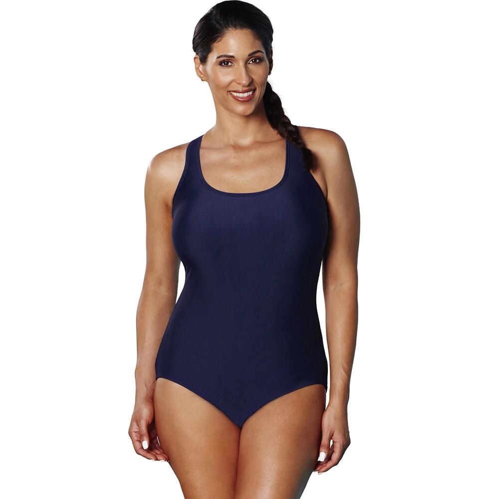 Aquabelle Xtra Life Lycra Navy Crossback Swimsuit (Size 2...