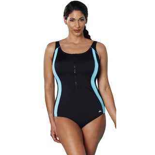 Aquabelle Xtra Life Lycra Mint Zip Front Swimsuit