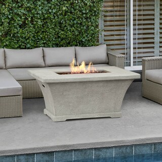 Real Flame Monaco Cream 55 in. L x 39.2 in. W x 26 in. H Chat Height Fire Table