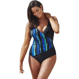 Beach Belle Wavelengths Surplice Swimsuit|https://ak1.ostkcdn.com/images/products/11190312/P18181888.jpg?impolicy=medium