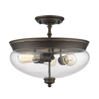 Z-Lite 3 Light Semi Flush Mount in Olde Bronze