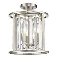 Avery Home Lighting 3 Light Semi Flush Mount in Brushed Nickel