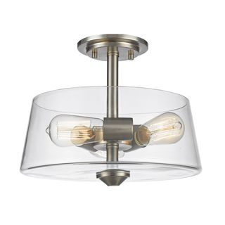 Avery Home Lighting 3 Light Semi Flush Mount in Brushed Nickel