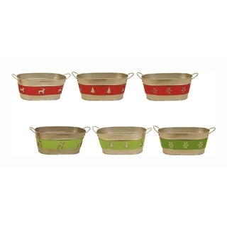Holiday Trio Double Metal Planter - Set of 6, 4 in