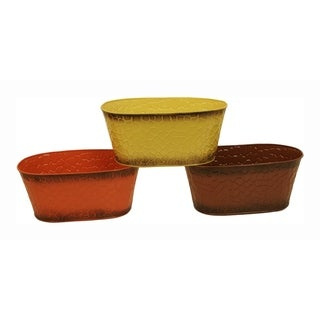 Wald Imports Harvest Tones Double Metal Planter - Set of 3, 4 in
