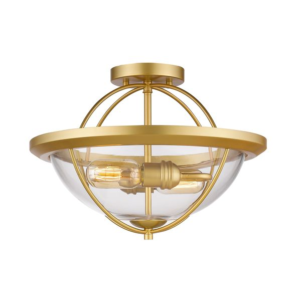 Z-Lite 2 Light Semi Flush Mount in Satin Gold - Satin Gold