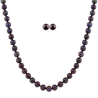 Black Pearl Set with Fancy Clasp ( 8-8.5 mm)