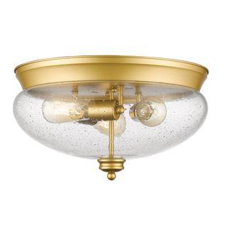 Z-Lite 3-Light Flush Mount in Satin Gold