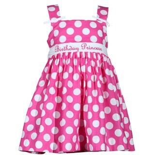 Treasure Box Kids Girls Pink Polka Dot Birthday Dress