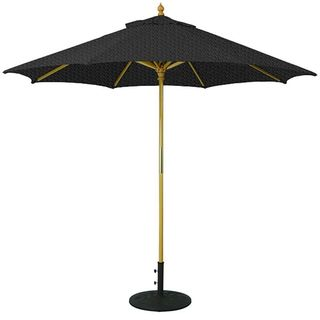 9-foot Umbrella with Light Wood Pole and Black Shade